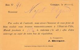 Genappe , Carte De Réquisition , Le Bourgenestre  J.Berger  1915 - Genappe