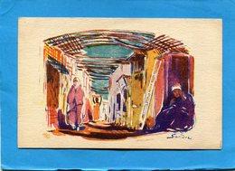 SANDOZ-Illustrateur  A F N-une Ruelle Animée-édition Cie Transat   -carte Neuve-années 20- - Illustrateurs & Photographes