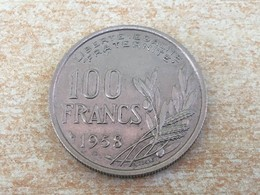 1958 No 'B' 100 Francs Coin - Very/Ex Fine, Uncleaned - France