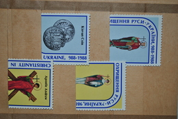 Ukraine 1988 Vignettes Christianisme 988-1988 Sans Gomme - Ukraine