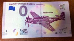 USA VIRGINIA BEACH MILITARY AVIATION MUSEUM P-51 MUSTANG BILLET ZERO EURO SOUVENIR 2018 BANKNOTE BANK NOTE EURO SCHEIN - 1939-45
