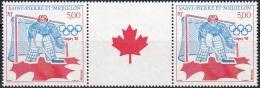 Saint-Pierre Et Miquelon 1988 Yvert 487A Neuf ** Cote (2015) 7.30 Euro Jeux Olympiques D'hiver Calgary Hockey Sur Glace - St.Pierre Et Miquelon