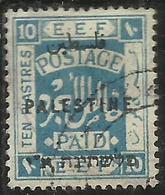 PALESTINE PALESTINA 1921 OVERPRINTED OF 1918 SOPRASTAMPATO 10m USATO USED OBLITERE' - Palestina