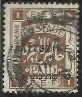 PALESTINE PALESTINA 1922 OVERPRINTED OF 1918 SOPRASTAMPATO 1m USATO USED OBLITERE' - Palestina