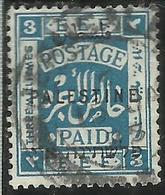 PALESTINE PALESTINA 1922 OVERPRINTED OF 1918 SOPRASTAMPATO 3m USATO USED OBLITERE' - Palestina