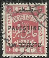 PALESTINE PALESTINA 1922 OVERPRINTED OF 1918 SOPRASTAMPATO 4m USATO USED OBLITERE' - Palestina