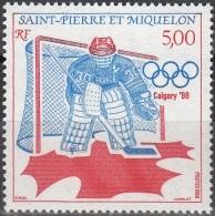 Saint-Pierre Et Miquelon 1988 Yvert 487 Neuf ** Cote (2015) 2.75 Euro Jeux Olympiques Calgary Hockey - St.Pierre Et Miquelon