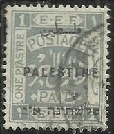 PALESTINE PALESTINA 1922 OVERPRINTED OF 1918 SOPRASTAMPATO 1pi USATO USED OBLITERE' - Palestina