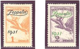 Hongrie: Yvert N°A 24/25*; MH; Zeppelin; Cote 180.00€ - Airmail