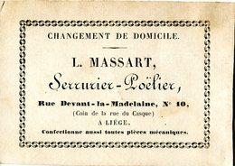 Chromo Publicitaire Env 1850, L.Massart -Serrurier-Poëlier-, Liège - Publicités
