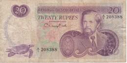 BILLETE DE SEYCHELLES DE 20 RUPEES DEL AÑO 1976  (BANKNOTE) TORTUGA-TURTLE - Seychelles