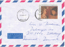 Belgium Air Mail Cover Sent To Denmark 11-10-1991 Single Franked - Airmail