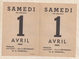 8AK929 Document Ste Liberation SAMEDI 1 Avril 1944 CHURCHILL 2 Scans - Documents Historiques