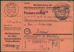 """1945, Nicht Mehr Ausgezahlte Postanweisung Ab GLATZ 1 - 19.4.45 Mit Portofreiheitsstempel """""""" Frei Durch Ablösung Reich - - Deutschland"""