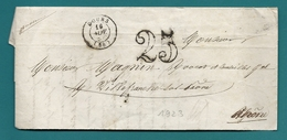 Rhone - Cours Pour Villefranche Sur Saone. CàD Type 15 + Taxe Tampon 25 - Postmark Collection (Covers)