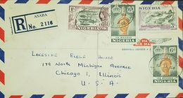 O) 1953 NIGERIA, LOGGING 1sh- QUEEN ELIZABETH- ARCHEOLOGY-OLOKUN HEAD-IFE-JEBBA BRIDGE OVER NIGER- SCOTT A18. REGISTERED - Nigeria (1961-...)