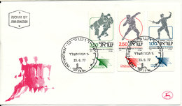 ISRAEL FDC 23-6-1977 Makkabiade Complete Set With Tabs And Cachet - FDC