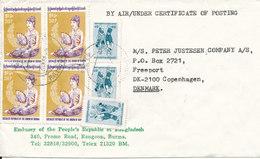 Burma Cover Sent To Denmark  From The Embassy Of People's Republic Of Bangladesh Rangoon - Myanmar (Burma 1948-...)