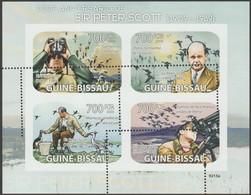 Guinée Bissau 2009 Y&T 2857/60. Épreuve D'impression. Piquage Raté. Sir Peter Scott. Observation Des Oiseaux - Oies