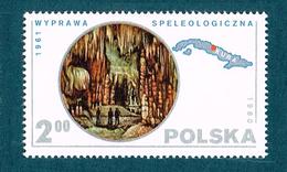 POLAND 1980 Scientific Expeditions. Maps Caverns Speleology Cuba Cave MNH - 1944-.... République