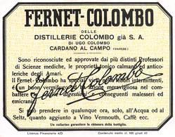 """647 """"FERNET COLOMBO-DISTILLERIE COLOMBO-CARDANO AL CAMPO """"ETICH. ORIG - Non Classificati"""