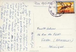 Photocarte Gevaert,Cachet Matadi étoile Vers  Bruxelles ,timbre 6,50 Francs Surcharge CONGO (les Quais Du Port ,bateau ) - Republiek Congo (1960-64)