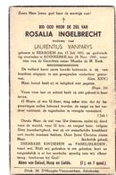 Devotie - Devotion - Doodsprentje Overlijden Rosalia Ingelbrecht - Bekegem 1851 - Adinkerke 1941 - Obituary Notices