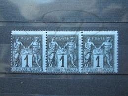VEND BEAUX TIMBRES DE FRANCE N° 83 EN BANDE DE 3 , NOIR SUR BLEU , XX !!! (b) - 1876-1898 Sage (Type II)