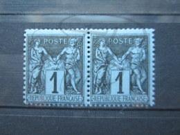 VEND BEAUX TIMBRES DE FRANCE N° 83 EN PAIRE , NOIR SUR BLEU , XX !!! - 1876-1898 Sage (Type II)