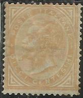 ITALIA REGNO ITALY KINGDOM 1863 - 1865  VITTORIO EMANUELE II CENT. 10c DISCRETA CENTRATURA MH FIRMATO SIGNED - 1861-78 Victor Emmanuel II