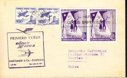 CHILI, Pli De 1961, Premier Vol LUFTHANSA, Santiago De Chili - Zuerich. (671A) - Chili