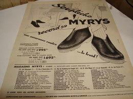 ANCIENNE AFFICHE PUBLICITE CHAUSSURE MIRYS 1958 - Publicités