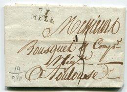 HERAULT De MARSEILLAN LAC Du 15/07/1810 Avec Linéaire 19x9 De MEZE Taxée 5 Pour TOULOUSE - Marcophilie (Lettres)