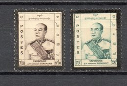 CAMBODGE N° 87 + 88  NEUFS AVEC CHARNIERES COTE 10.50€  ROI - Cambodia