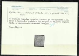 ITALIA REGNO ITALY KINGDOM 1863 1865 EFFIGIE RE VITTORIO EMANUELE II CENT. 15c OTTIMA CENTRATURA MLH CERTIFICATO - Nuovi