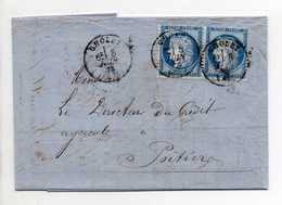 - Lettre BANQUE BOUTILLIER DE ST-ANDRE, CHOLET Pour POITIERS 8 JUIN 1876 - Paire 25 C. Bleu Cérès Type III - - Postmark Collection (Covers)