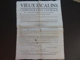 1797 Vieux Escalins Département De L'Ourte (refus Des Escalins Dans Les Caisses Publiques) - Affiches