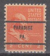 USA Precancel Vorausentwertung Preo, Bureau Pennsylvania, Paradise 803-71 - Vereinigte Staaten