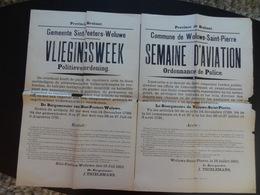 1910 Commune De Woluwe-Saint-Pierre Semaine D'aviation Ordonnance De Police (bilingue) - Affiches