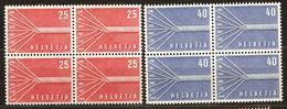 Zu 332-333 / Mi 646-647 / YT 595-596 EUROPA 1957 Bloc De 4 **/MNH SBK 12,- Voir Description - Suisse