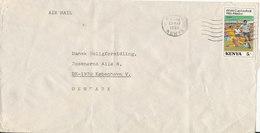 Kenya Air Mail Cover Sent To Denmark Nairobi 23-5-1986 Football Soccer Stamp (some Of The Cover Backside Is Missing) - Kenya (1963-...)