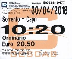 Italien 2018 Schiffsfahrkarte Sorrent - Capri (Hinfahrt) - Schiffstickets