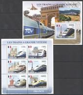S988 2008 UNION DES COMORES LES TRAINS A GRANDE VITESSE FRANCE 1KB+1BL MNH - Trains