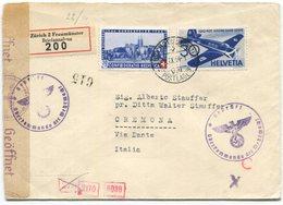 1797 - 2 Gleiche Wertstufen Auf Zensuriertem Einschreiben Von ZÜRICH Nach CREMONA (IT) - Poste Aérienne