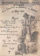 21 - Semur-en-Auxois - Alésia - Menu Du Banquet 1923 De La Société Des Sciences De Semur Au Resto Des Fouilles D'Alésia - Semur