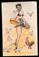 KORTRIJK  1950 - HUMORISTISCHE MENU  - AQUARELLE - HOOFD IS FOTO _ 2 SCANS - Menus
