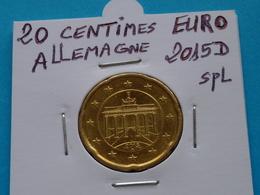 20  CENTIMES  EURO  ALLEMAGNE  2015 D  Spl  ( 2 Photos ) - Allemagne