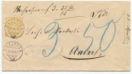1802 - MAZINGEN Voll-O Auf Nachnahme Mit Wertziffer 15 Rp. Gelb Nach AADORF - 1882-1906 Wappen, Stehende Helvetia & UPU