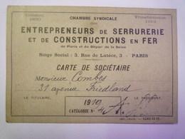 ENTREPRENEURS De SERRURERIE Et De CONSTRUCTIONS En FER  :  CARTE De SOCIETAIRE   1919   - Vieux Papiers
