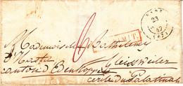 LAC Obl BARR [Type 15] Du 23 SEPT 47 Adressée à Gleissweiler Palatinat + DEP LIMIT Rouge - Marcofilia (sobres)
